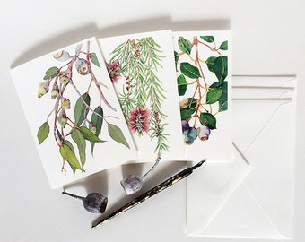 "Botanical cards set - mixed set of 3 large greeting cards with envelopes - 5.5""x7.5"" when folded, blank inside - Australian flora"