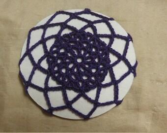 Crochet purple bun cover snood hair accessory