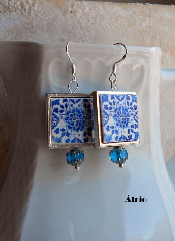 Portugal Antique Azulejo Tile Replica Earrings 925 SILVER FRAMED - Évora Antigo Colégio de São Paulo UNESCO World Heritage - Reversible 691S