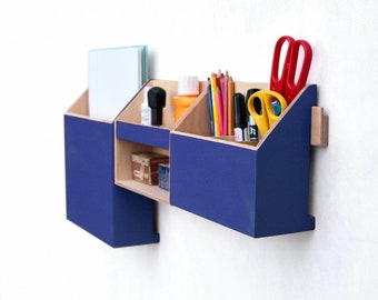 Wall organizer Inky Navy Blue, Dark Blue Mail Holder and Shelf, Wall Wood Set, Desk Accessories for office,  Pen holder, Mail organizer