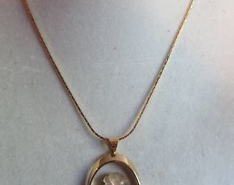 """17 1/2"""" Gold Flower Necklace, Gold Chain, Dainty, Flower, Pendant, Necklace"""