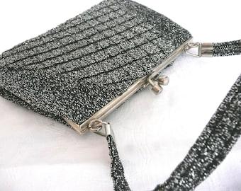 Vintage evening purse - silver lurex evening purse - 1960s silver evening purse - lurex evening bag - mid century evening bag