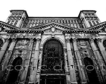 Detroit Photography - Michigan Central Train Station Black & White - Iconic Detroit Photo Print