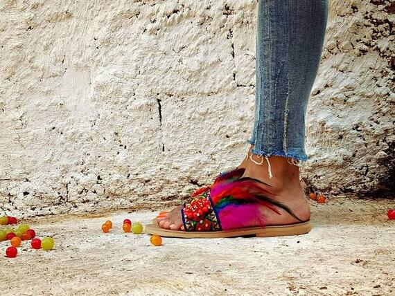shoes flat Womens Fashion Decorated sandals Feather Malibu shoes sandals TU6UOH
