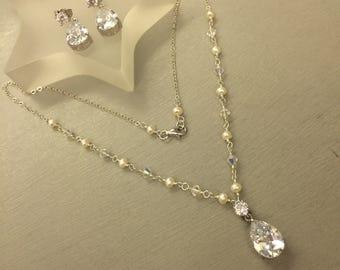 BRIDAL JEWELLERY set Freshwater pearl Cubic Zirconia teardrop and Swarovski crystal wedding jewelry necklace & earrings set wire work design