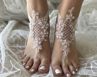 Blush barefoot sandals , Lace sandals, Wedding anklet, Beach wedding barefoot sandals, Bridal sandals, Bridesmaid gift, Beach Shoes