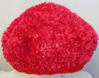 "Tam Hat - Stylish Soft Hand Crochet - Cherry Red Textured Design - Thinking Reading Cap - Chemo Cap - 21-24"" - Designed Made USA Item 4344"