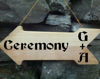 Arrow Wedding Signs Rustic Wedding Initials Sign LARGE Wood.Vintage Weddings. Road Signs.Pointing Wedding Sign,Wooden Ceremony Chalkboard