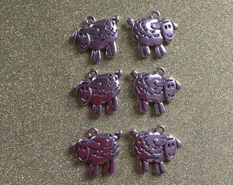 6 silvertone sheep charms