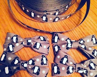 Grey penguin hairbow ribbon bows- on clips or hair ties