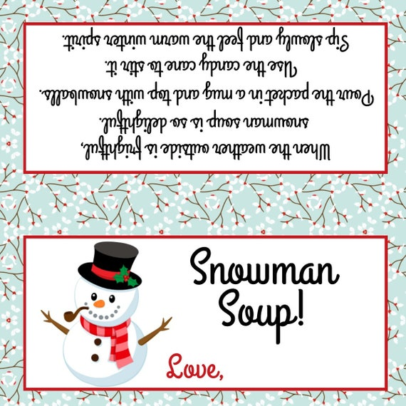Bright image throughout free printable snowman soup labels
