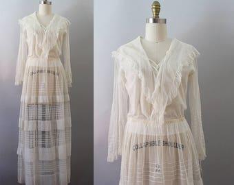 Edwardian Gown / Antique 1910s Net Dress / XS