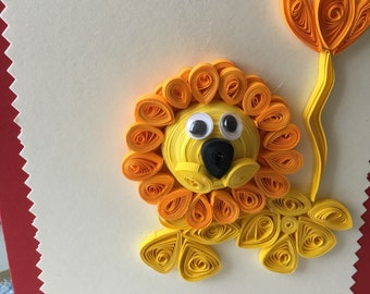 Lion quilled card