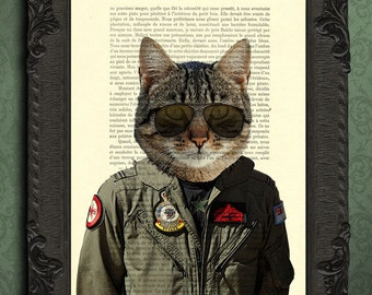 Fighter jet pilot cat wall art, animal air force gifts, army decor dictionary page print