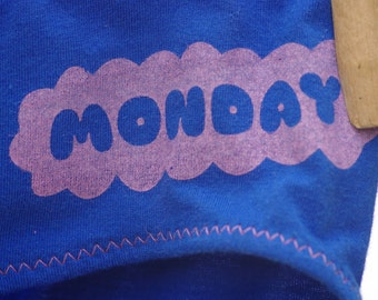 Blue Monday Days of the Week Women's Underwear - Boy Cut & Recycled Cotton - Made to Order
