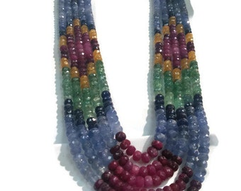 Precious Sotone Faceted Necklace . Long NEcklace in Precious Gemstone, Multi Sapphire beaded Necklace, size 4-5mm