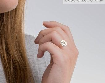 Circle Monogram Ring, Circle Initial Ring, Minimalist Ring, Dainty Ring, Personalized Ring, Delicate Ring, Bridesmaid Ring, Girlfriend Gift