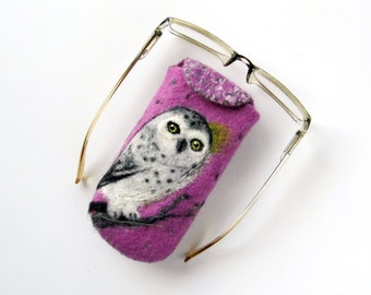 Wet Felted Eyeglasses Case Snowy owl Ready to Ship  handmade gift for her under 50 USD