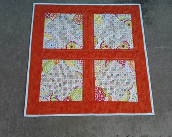 Orange Table Topper, Handmade Table Cloth, Tangerine Placemat, Rust Placemats, Orange Table Runners, Quilted