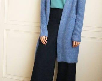 Elena Cardigan -steel blue cornflower blue mohair wool open-front cardigan winter