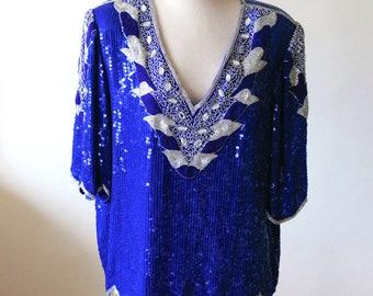 Blue Sequin Blouse | Neiman Marcus Silk Blouse | Blue Silver Sequin Jeweled Blouse | Vintage Sequin Top | Plus Size Sequined Blouse
