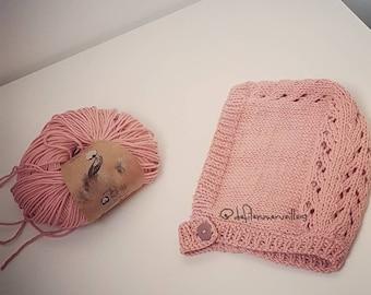 Organic cotton baby bonnet 0-3 months
