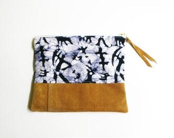 """Repurposed Suede & Vintage Batik Fabric Zipper Pouch Clutch, 10"""""""