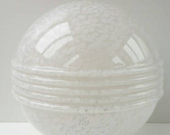 """French Art Deco - Ceiling Light Globe Sphere Plafonnier - Vintage Design white spotted opaline glass lamp shade - Height 9"""" / 22 cm"""