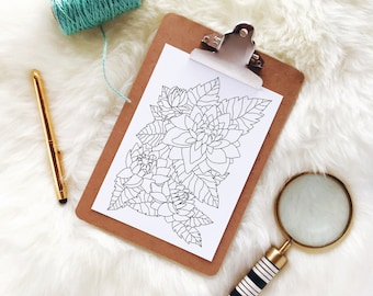 Floral Coloring Page: A printable coloring page for adults with flowers and leaves. Simple design perfect for a beginner level.