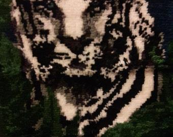 Large White Tiger Latch Hook Rug