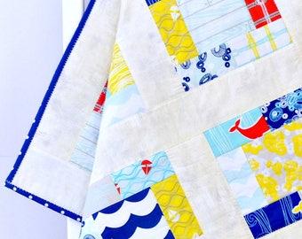 Ocean Baby Patchwork Quilt baby blanket whale nursery baby quilt baby shower gift baby gift patchwork blanket baby boy quilt