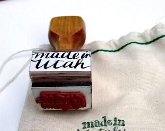 Made in Utah Stamp, Hand Lettered Calligraphy Stamp, Utah State Love, DIY Packaging Stamp, Artist Maker Stamp