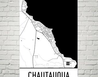 Chautauqua Map, Chautauqua NY Art, Chautauqua Print, Chautauqua NY Poster, Chautauqua Wall Art, Chautauqua Gift, Map of Chautauqua, Art