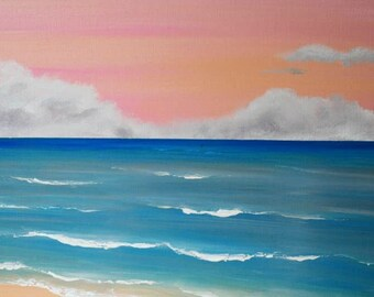 "Original Textured Abstract Contemporary seascape landscape Arcrylic Painting on canvas.30"" x 15"" ""seascape 2"""