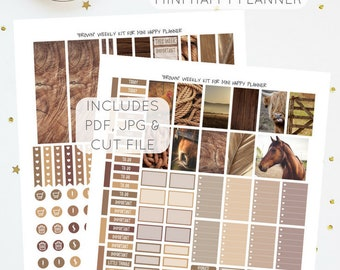 Brown - Weekly Kit for Mini Happy Planner   Printable Planner Stickers   Includes Silhouette Cut File   Instant Download   PDF & JPG