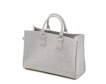 Felt bag light grey Heather shopper Sarah 100% Merino design wool felt-size B 44 x H 30 x D 18 cm