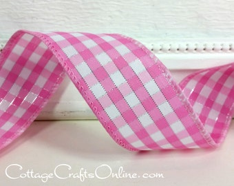 """Wired Ribbon, 1 1/2"""", Pink White Silver Metallic Gingham Check Plaid - THREE YARDS - Offray, """"Addison"""" Spring, Easter, Wire Edged Ribbon"""