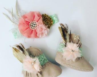 Wild One. Woodland. Tribal Soft Fringe boots and Headband Set