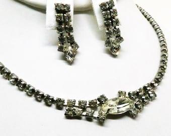 Rhinestone Jewelry Set - Vintage, Clear Rhinestones, Necklace and Screw Back Dangle Earrings Set