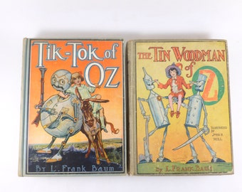 L. Frank Baum Oz Books Lot Tin Woodman of Oz and Tik-Tok of Oz Reilly and Lee Publishers