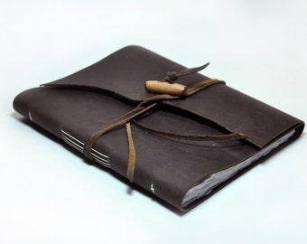 Genuine Leather Bound Sketchbook with Button Closure