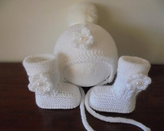 Knitted Baby Girl Booties And Hat, Baby Girl Boots And Hat  Size 3 to 6  Months Ready Made