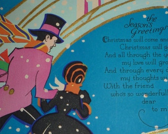 1930s Art Deco Couple in the Snow Vintage Christmas Greeting Card