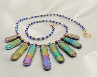 Dichroic Glass Fan Necklace
