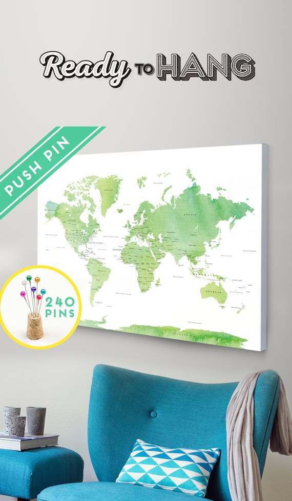 Push pin travel map canvas world map watercolor green gumiabroncs Choice Image