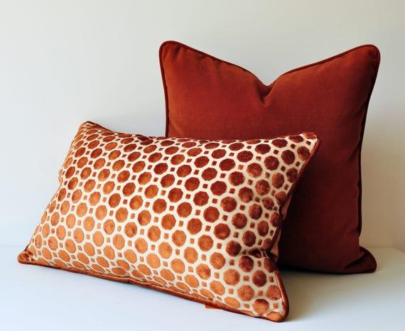 Burnt Orange Velvet Throw Pillow Cover Geometric Pillows