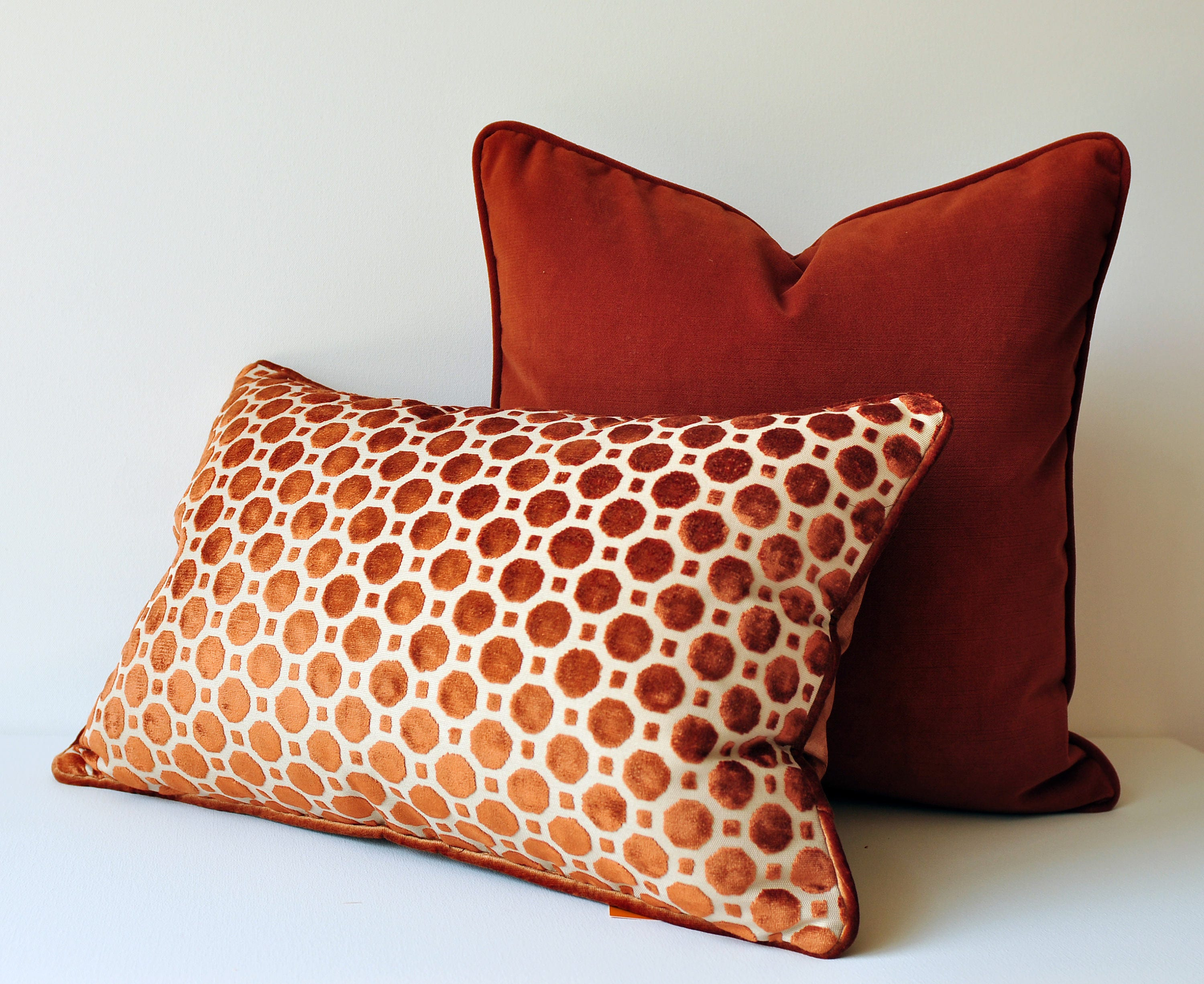 Burnt Orange Velvet Throw Pillow Cover Geometric Pillows