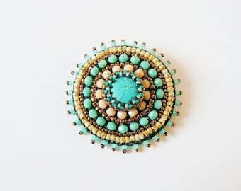 Beadwork Turquoise Brooch Embroidery Brooch Bead embroidered Brooch Turquoise Copper Beige Brooch Ethnic Tribal Boho jewelry MADE TO ORDER