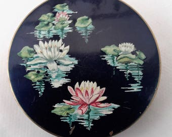 Stratton powder compact, 1950s, blue and gold compact, hand painted waterlilies, vintage ladies compact.