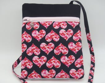 Sweetheart Bag, Hearts Cross Body Bag, Small Shoulder Bag, Gifts for Her, Passport Case, Runaround Bag, Valentines Gift, Gifts for Nurses